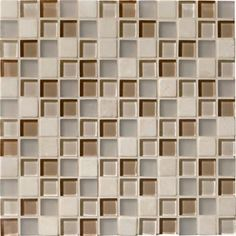 """Mannington 1"""" x 1"""" Glass & Stone Mosaics - Beige Blend. Glass mosaics bring these contrasts to life and have emerged as a dominant force in tile accessories. Our new introductions offer a unique take on this trend and feature a combination of clear and frosted glass, and natural stone in three versatile and fashion-forward blended color offerings."""
