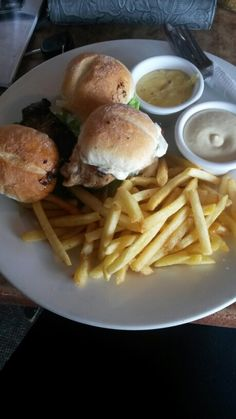 Sliders and fries.1 steak &cheese ,1fish pickle &tartare,1apricot chicken