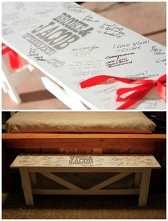 Guest Book Ideas for a Rustic Wedding: Wood Bench #itsabrideslife #davidtutera #misscountrymusicbride