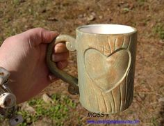 Personalized Tree Carved Wood Grain Mug Handmade Ceramic from my Charleston, SC Studio by CreativityHappens on Etsy