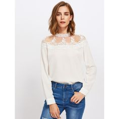Mesh Yoke Lace Applique Keyhole Back Blouse (280 MXN) ❤ liked on Polyvore featuring tops, blouses, white, lace sleeve blouse, long sleeve lace blouse, mesh top, long sleeve blouse and white long sleeve blouse