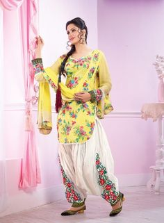 Yellow Casual Patiala Salwar Kameez . Buy at - http://www.gravity-fashion.com/yellow-casual-patiala-salwar-kameez.html