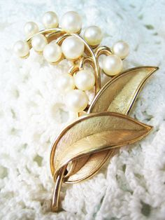 Vintage Trifari Lily of the Valley Faux Pearl Brooch Signed