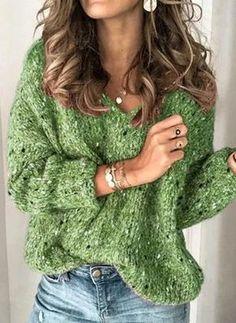 lightinthebox / Damen Solide Langarm Pullover Pullover Jumper, V-Ausschnitt Rosa / Blau / Braun S / M / L Casual Sweaters, Winter Sweaters, Long Sweaters, Casual Tops, Pullover Sweaters, Jumper, Sweaters For Women, Winter Coats, Womens Knit Sweater