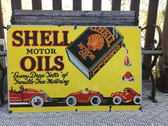 Old Shell Motor Oil Porcelain Sign Porcelain Signs, Garage Signs, Vintage Metal Signs, Old Signs, Ebay Search, Advertising Signs, Coke, Decoration, Trading Cards