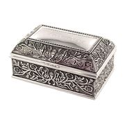 Personalized Silver Floral Chest Jewelry Box #Bridesmaidgift #weeding #gift #Jewelry cheapgroomsmengifts.com