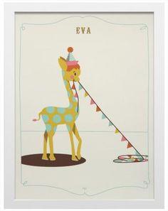 Gerahmter Siebdruck LITTLE CIRCUS Motiv Giraffe (personalisierbar)