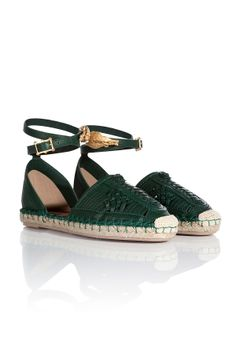 Woven Leather Espadrilles with Phoenix Charm from VALENTINO | Luxury fashion online | STYLEBOP.com