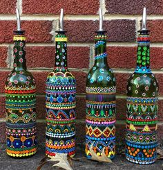 Bottle art, Oil and Vinegar Wine Bottles Handpainted, Soap dispenser, Centerpiece Painted Glass Bottles, Glass Bottle Crafts, Wine Bottle Art, Diy Bottle, Decorated Bottles, Bottle Lamps, Dot Art Painting, Idee Diy, Bottle Painting