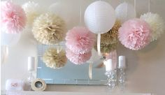 Pink Cream Pom Poms & White Paper Lanterns for Wedding Engagement Anniversary Birthday Party Bridal Baby Shower Decoration Home Wedding Decorations, Girl Baby Shower Decorations, Wedding Lanterns, Craft Wedding, Birthday Decorations, Flower Decorations, Wedding Car, Garden Wedding, Wedding Engagement