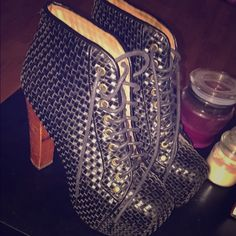 Booties Black basket woven booties. Can be dressed up or dressed down. Jeffrey Campbell Shoes Heels
