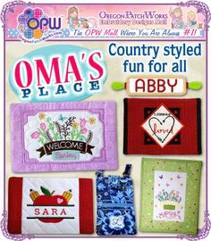 Shop country style, #machineembroidery fun today, from Oma's Place!