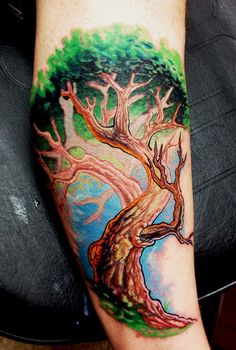 Awesome Colorful Tree Of Life Tattoo Design For Forearm By BodyArtbyElf