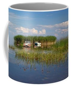 Boats and reed island on the lake. Mugs For Sale, Travel Photographer, Basic Colors, Color Show, Countryside, Fine Art America, Colorful Backgrounds, Boats, Coffee Mugs