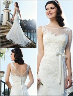 Sincerity Bridal Style #3750 $850  An illusion Sabrina neckline is accented with beaded lace on this tulle and beaded lace mermaid gown. A bias satin band and bow decorate the natural waist. The Vback has satin buttons over the back zipper that cascade to the end of the chapel length train  #wedding #bridal #lace
