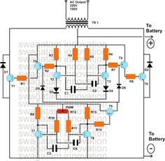 150 Watt Modified Sine Wave Inverter Circuit Using only Transistors Solar Panel Cost, Solar Panels, T2 T3, Sine Wave, Circuit Projects, Circuit Diagram, Good To Know, Waves, Circuits