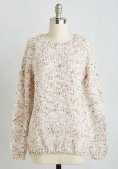 The Sun Will Come Out To-marled Sweater - Mid-length, Cream, Multi, Polka Dots, Print, Knitted, Casual, Folk Art, Long Sleeve, Fall, Winter, Knit, Better, Crew