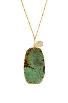 Dara Ettinger Daisy Gold Dipped Green Turquoise Necklace by Jewelry Blowout on @HauteLook