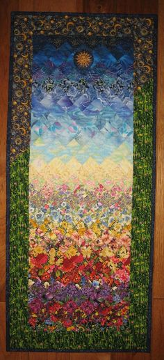 Art Quilt, Sunshine Summer Garden Fabric Quilted Wallhanging