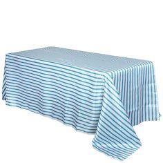 """90x156"""" White/Turquoise Stripe Satin Tablecloth"""