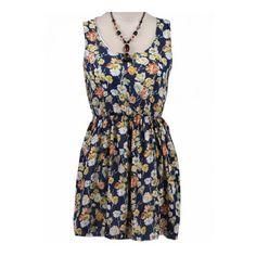Blue Sleeveless Floral Bandeau Chiffon Dress ($23) ❤ liked on Polyvore