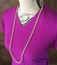 Gold Chain Necklace Women's Long Gold Tone necklace/ by Ivanwerks
