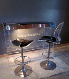 SPECTACULAR Mid century modern vintage thick   LUCITE Bar and two  stools art deco Hollywood Regency Mirrored Light Wine Rack on Etsy, $3,950.00