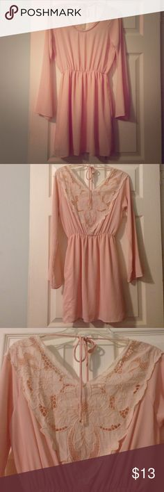 Gorgeous Dress with Lace Back Beautiful dress. Slightly sheer on top, so should wear with bandeau. Has a tiny little whole (see picture); priced accordingly. Goes right above the knee. Fits flowy and elegant  Sage Dresses Midi