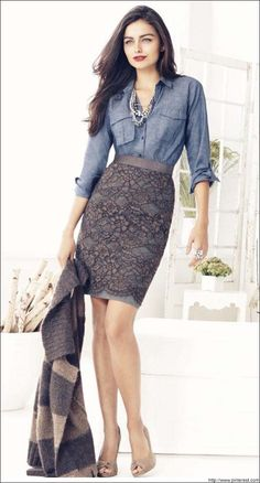 Casual Day outl wear with a pencil skirt  #CasualSkirts