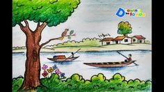 Trendy how to draw elephant step by step galleries ideas Scenery Drawing Pencil, Scenery Drawing For Kids, Art Drawings For Kids, Colorful Drawings, Easy Drawings, Village Scene Drawing, Art Village, Crayon Painting, Painting For Kids