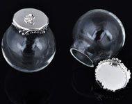 www.sayila.nl - Glazen bol hanger/bedel flesje met metalen kapje ± 31x25mm (oogje ± 2mm) - D17528
