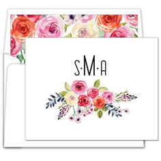White Floral Bunch Foldover Note Cards