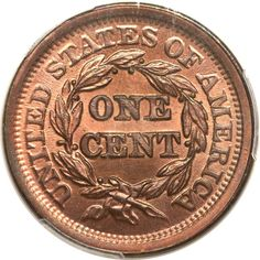 1852 1C MS66+ Red and Brown PCGS. CAC. N-16, R.1