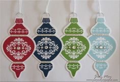 """handmade Christmas tags .. stamped ornament ... die cut bling and glimmer paper added ... metal hanger ... white baker's twine ... """"to"""" and ..."""