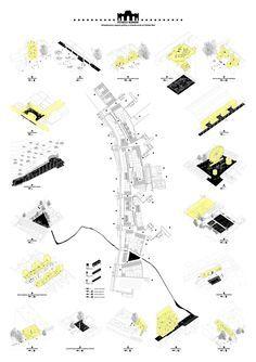 Héctor Rivera Bajo . Puerta Madrid. Cañada Real (8) #arquitectura #dibujos #presentaciones Revit Architecture, Architecture Graphics, Architecture Drawings, Concept Architecture, Architecture Board, Architecture Presentation Board, Presentation Layout, Map Design, Layout Design