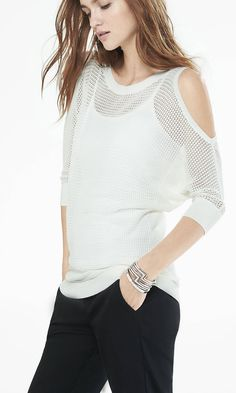 Open Stitch Cold Shoulder Dolman Sweater from EXPRESS