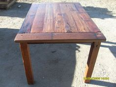 Reclaimed redwood table.