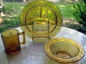 Tiara Indiana Glass Amber Childs Plate Mug