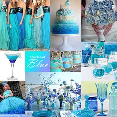 Shades of Blue Wedding Colors - A range of blue hues can create a luscious wedding palette. #exclusivelyweddings