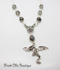 Dragon Pendant Necklace, Dragon Necklace, Dragon Pendant, Dragon Jewelry, Silver Dragon by freakchicboutique on Etsy