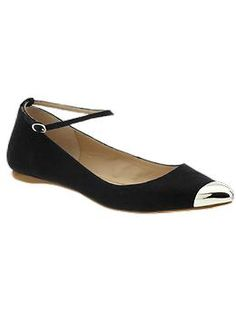Gold toe cap ankle-strap flats? Love. Mia Ashley   Piperlime