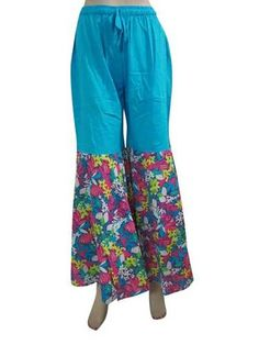 Gypsy Gauchos Pant Cotton Blue Floral Print Jumpsuit Bell Bottoms Trousers Capri | eBay