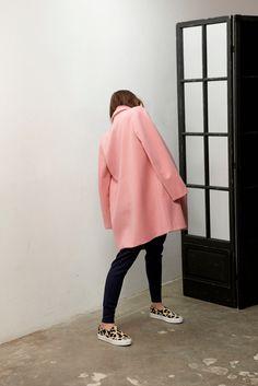 Celine slip-on sneaker, pink coat  #pink #coat #fashion #sneakers