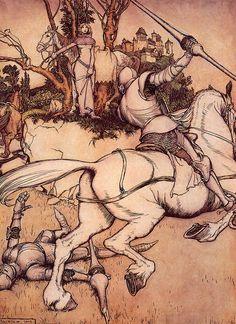 "artsytoad: ""Arthur Rackham, Beaumains Defeats Green Knight """