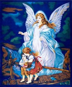 Make something sensational with this Guardian Angel Watching Over Children Large Cotton Fabric Panel