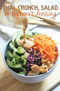 This Thai-inspired salad is packed with crunchy vegetables and drizzled with a creamy peanut dressing.  It's refreshing, nutritious, and delicious! Peanut based salad dressings and dipping sauces are very common in Southeast Asian cuisine.  My mom and my grandmother would make an Indonesian salad called gado gado, which is basically bean sprouts, cucumber, fried tofu, and hard …