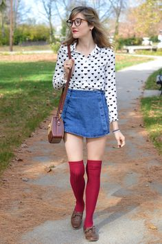 Afternoon Walks in Maroon Socks from alittlelau.com #fallfashion #kneehighsocks #blouse #vintage #fashion