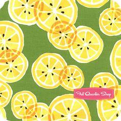 Luv the lemon on green background! Many fat quarters bundles on this website! Sorbet Citrus Citrus Slice Yardage SKU# CX5494-CITR-D
