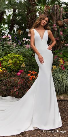 crystal design 2018 sleeveless deep v neck simple clean fit and flare wedding dress sheer back chapel train (candle) mv -- Crystal Design 2018 Wedding Dresses