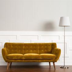 RST 'Rhodes' Mid-Century Modern Tufted Sofa in Mustard (Mustard Yellow), Brown